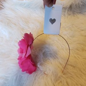 NWT Rose Gold Metal Headband With 2 Hot Pink Roses